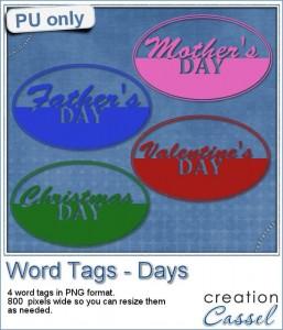 Word Tags Days freebie