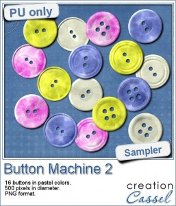 Button machine sample in pastel colors and PNG format