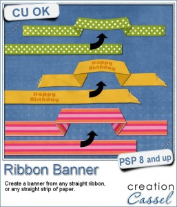 Ribbon Banner script for digital scrapbooking with Paintshop Pro
