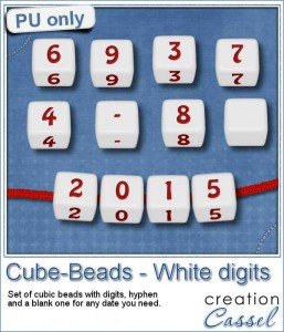 Cube beads with digits in PNG format