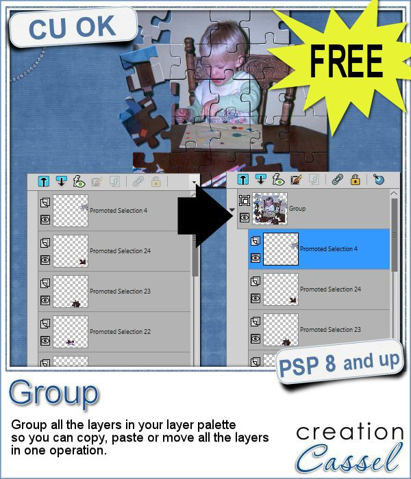 PSP script to group layers