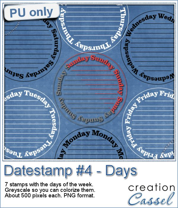 Datestamp with days of the week