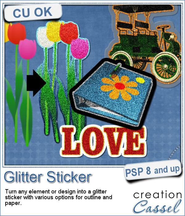 Glitter Sticker script for Paintshop Pro