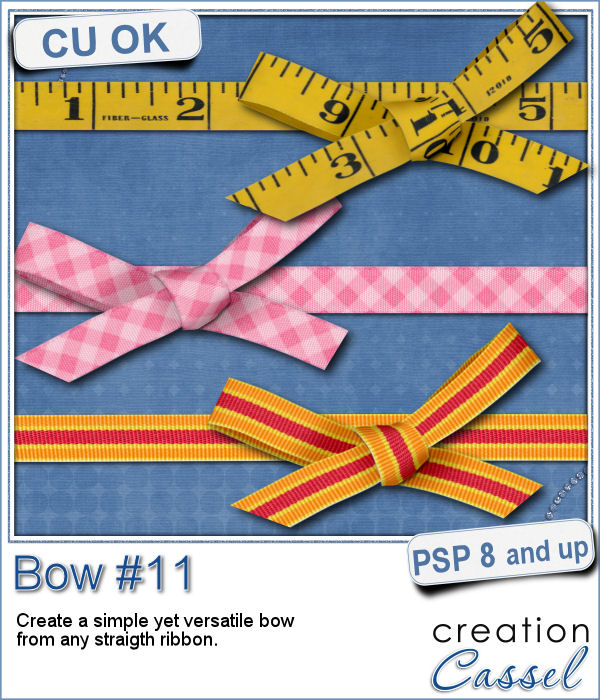 Bow made from straight ribbon - script for Paintshop Pro