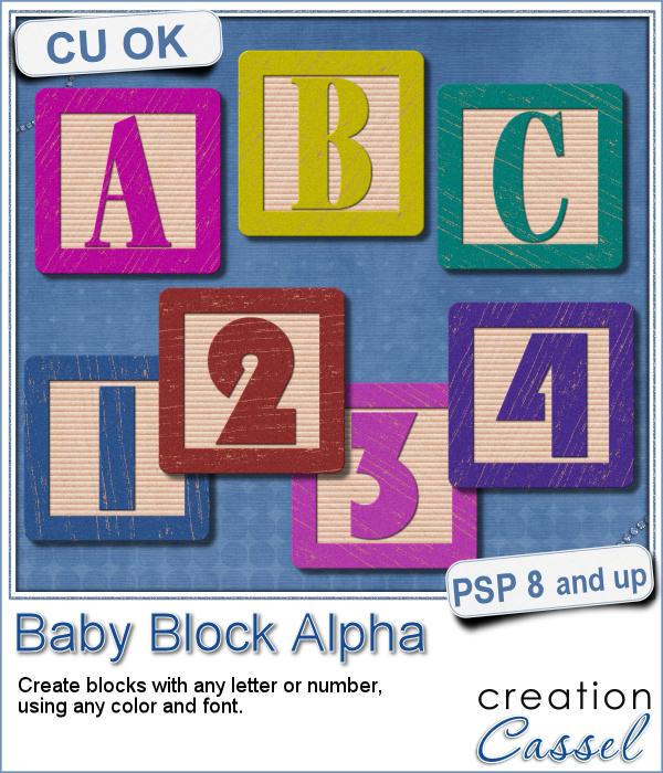Baby Block Alpha script for Paintshop Pro