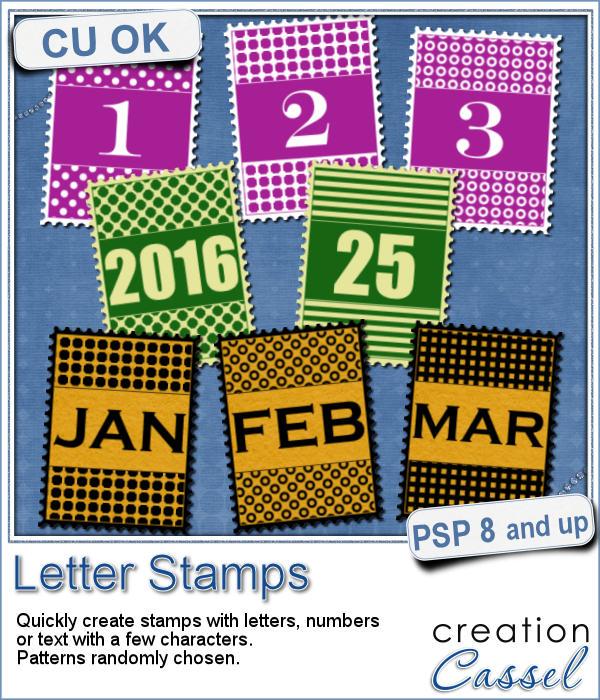 Letter Stamps script for Paintshop Pro