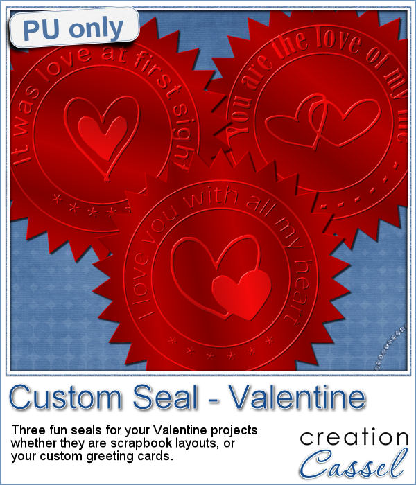Valentine Day Custom Seal in PNG format made from a script in Paintshop Pro