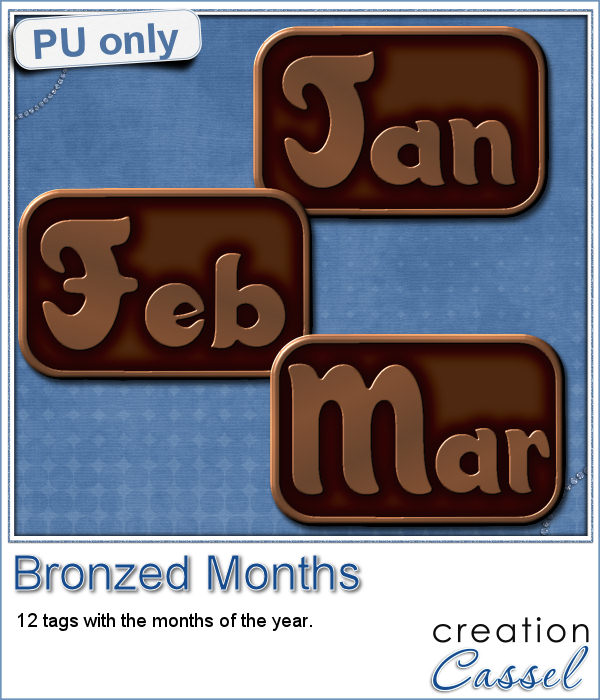 Bronzed month tags