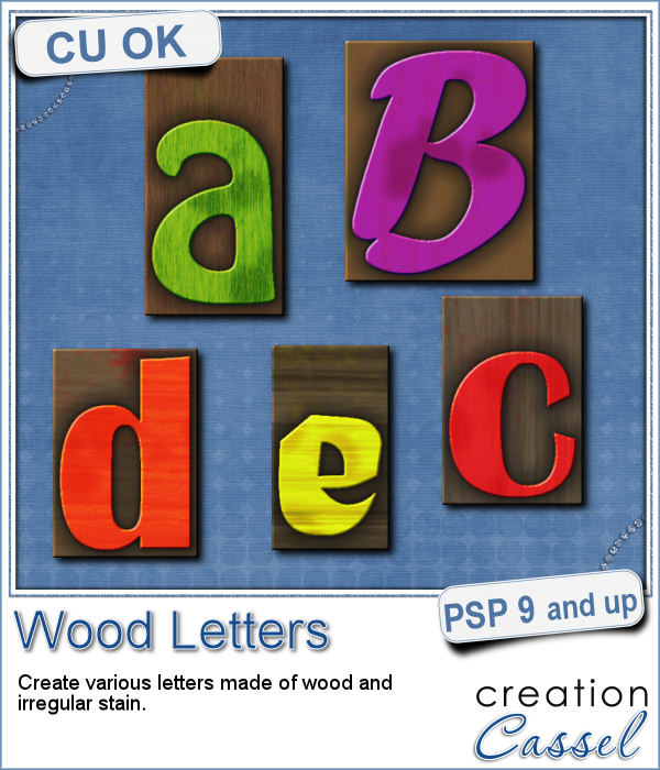 Wood letters script for Paintshop Pro