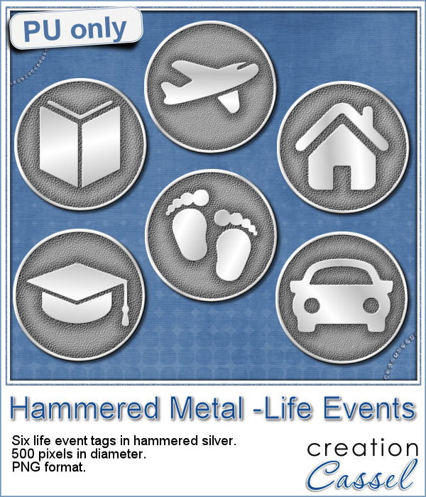 Hammered silver live event tags