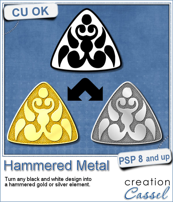 Hammered metal script for Paintshop Pro
