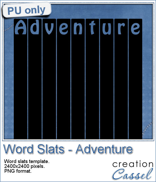 Word slats ADVENTURE template in png format