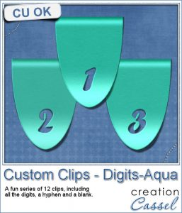 Custom clips with digits in aqua color
