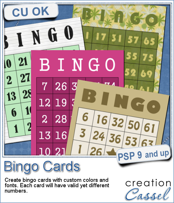 Bingo cards script for Paintshop Pro