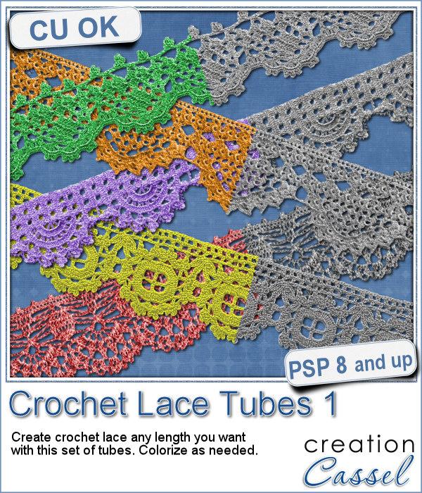 Crochet Lace Edge picture tubes for Paintshop Pro