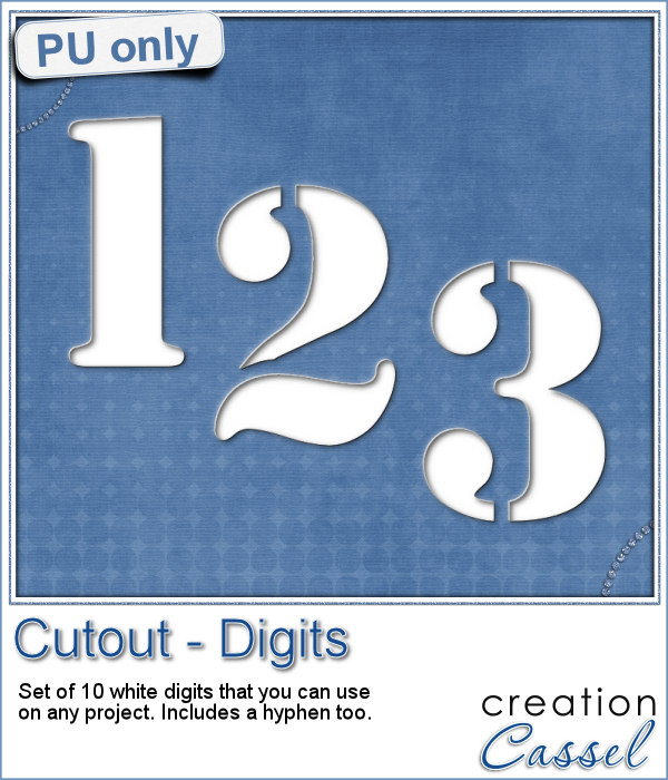 Stencil cut out digits in png format