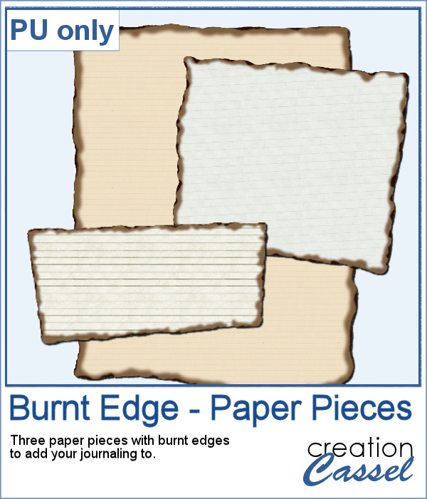 Burnt Edge paper pieces for digital scrapbooking