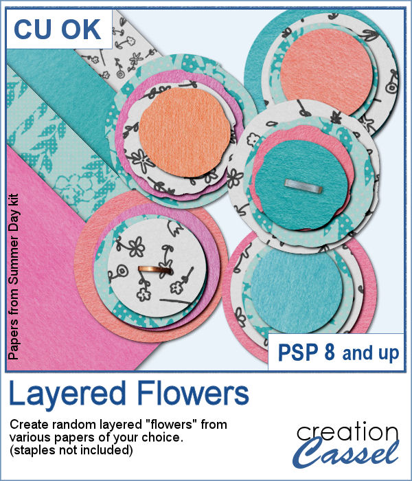Layered paper flower script for Paintshop Pro