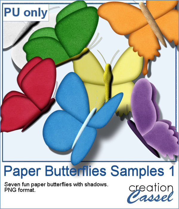 Paper Butterflies in png format for digital scrapbooking