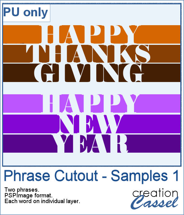 Phrase cutout for Thanksgiving and New Year
