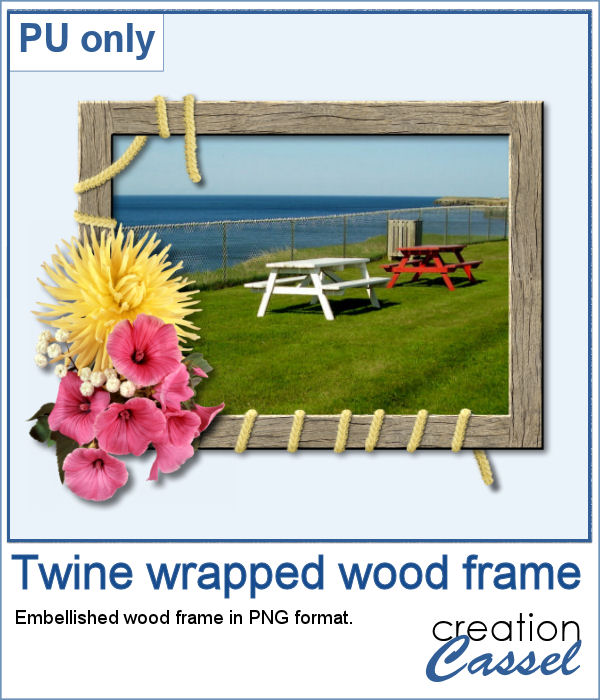 Twine embellished wood frame in png format