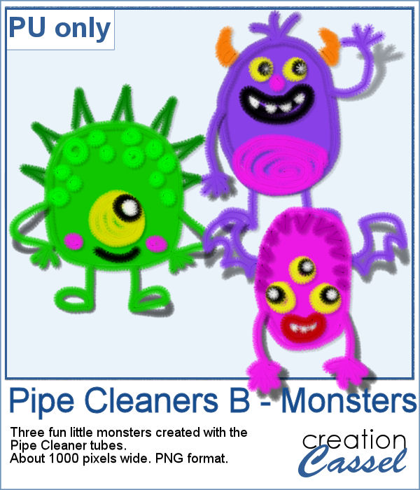 Pipe cleaners monsters in png format