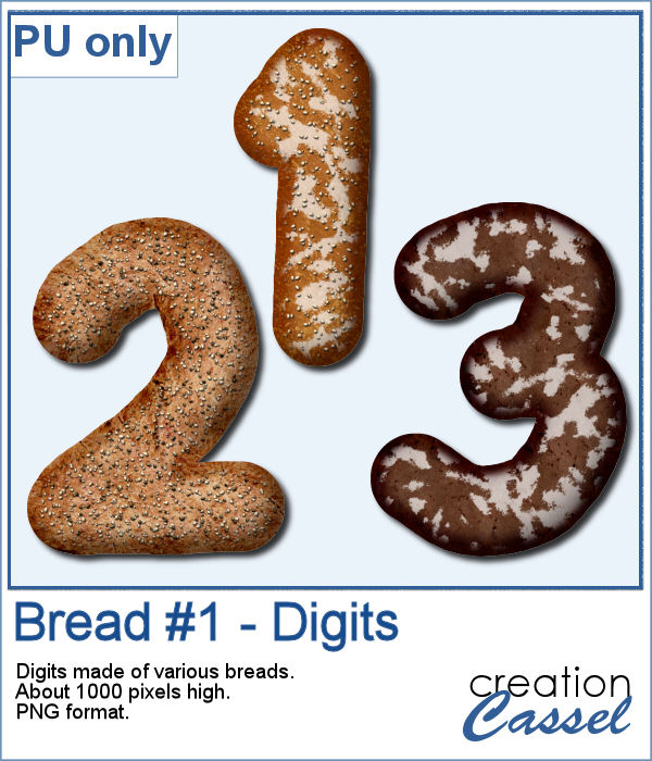 Bread digits in PNG format