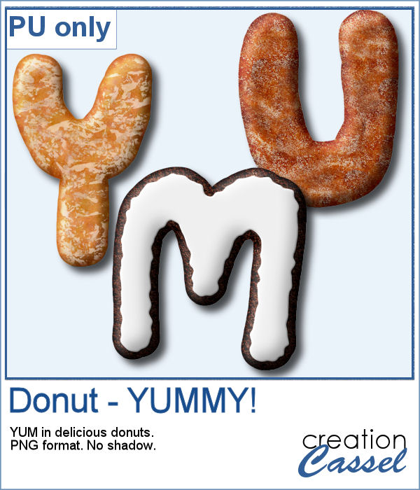 YUMMY letters in donut texture
