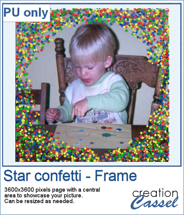 Star confetti frame in png format