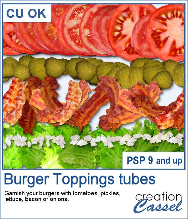 Burger Toppings tubes for Paintshop Pro