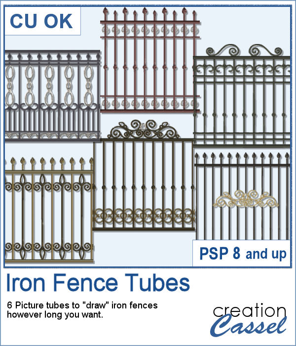 Iron Fence Picture tubes for Paintshop Pro