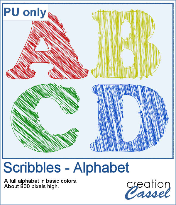 Scribbled alphabet in png format