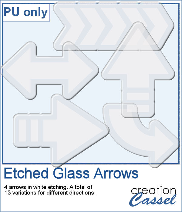Etched glass arrows in png format for digital scrapbooking