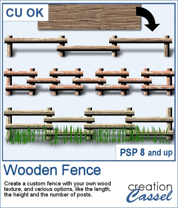 Wooden fence script for PaintShop Pro