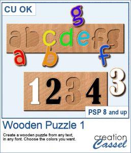 Wooden Puzzle script for PaintShop Pro