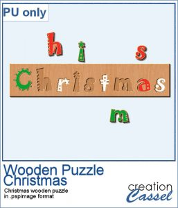Christmas Wooden puzzle for PaintShop Pro