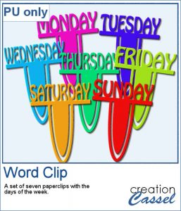 Word paperclips with days of the week
