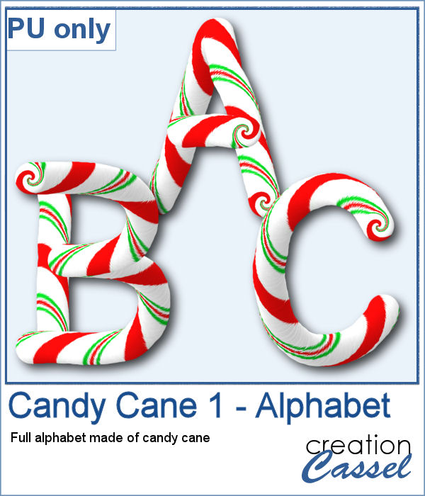 Candy Cane alphabet in png format
