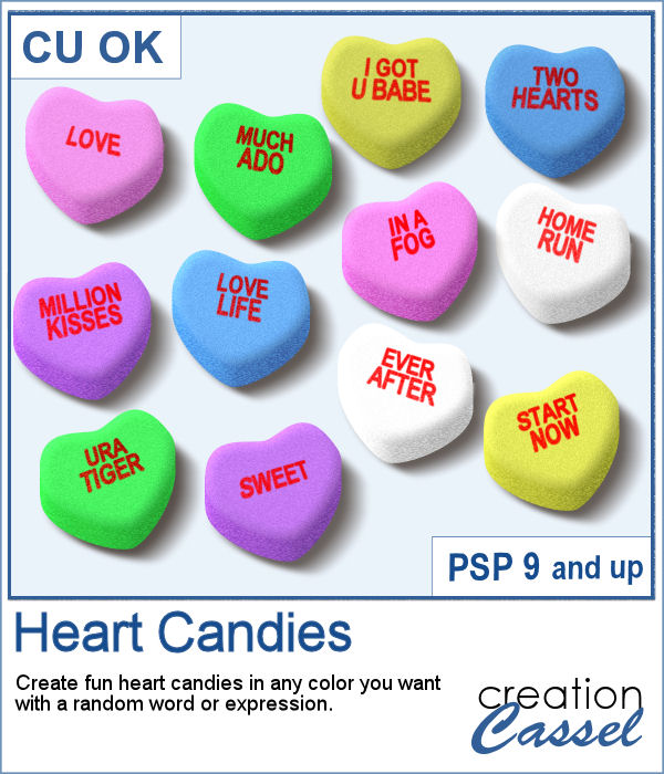 Heart Shaped Candies script for PaintShop Pro
