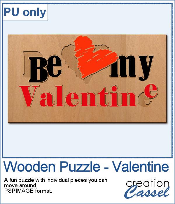 Valentine Wooden Puzzle for PaintShop Pro