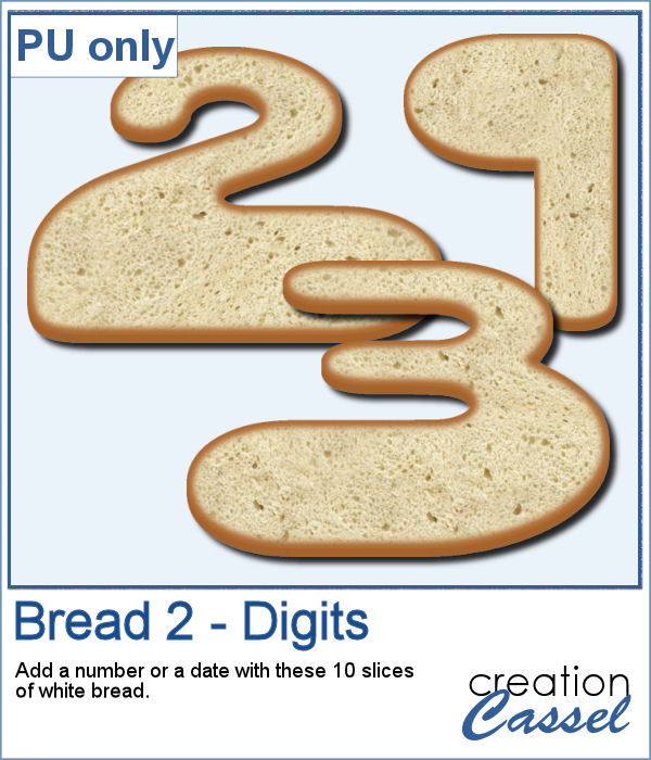 Slices of bread in the shape of digits