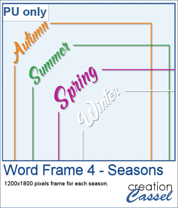 Word frames for seasons in png format