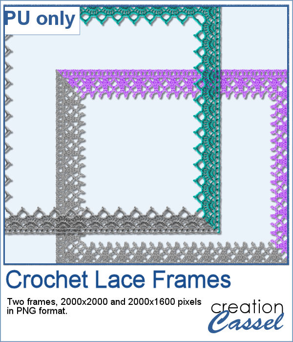 Crochet lace frames in PNG format