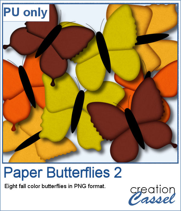 Paper Butterflies in PNG format, fall colors