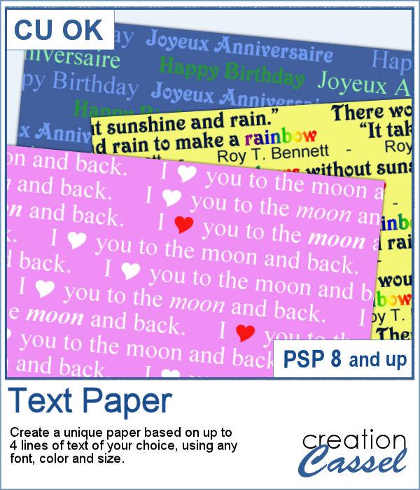 Text Paper script for PaintShop Pro