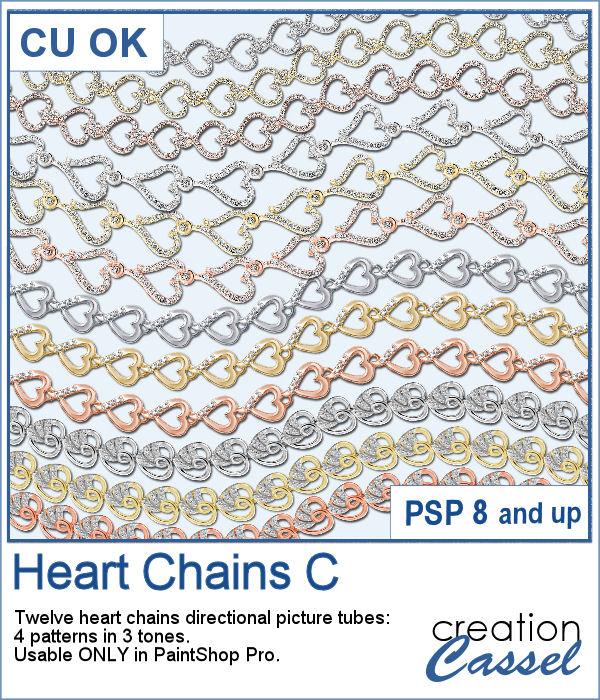 Heart Chain picture tubes for PaintShop Pro