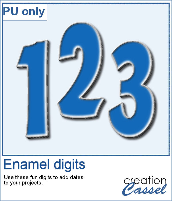 Enamel digits in png format