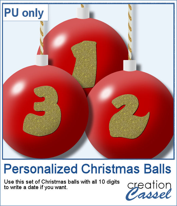 Digit Christmas balls in png format