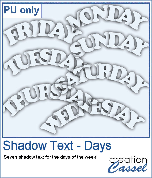 Shadow text - Days of the week