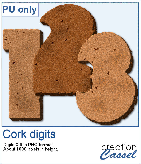 Cork digits in PNG format